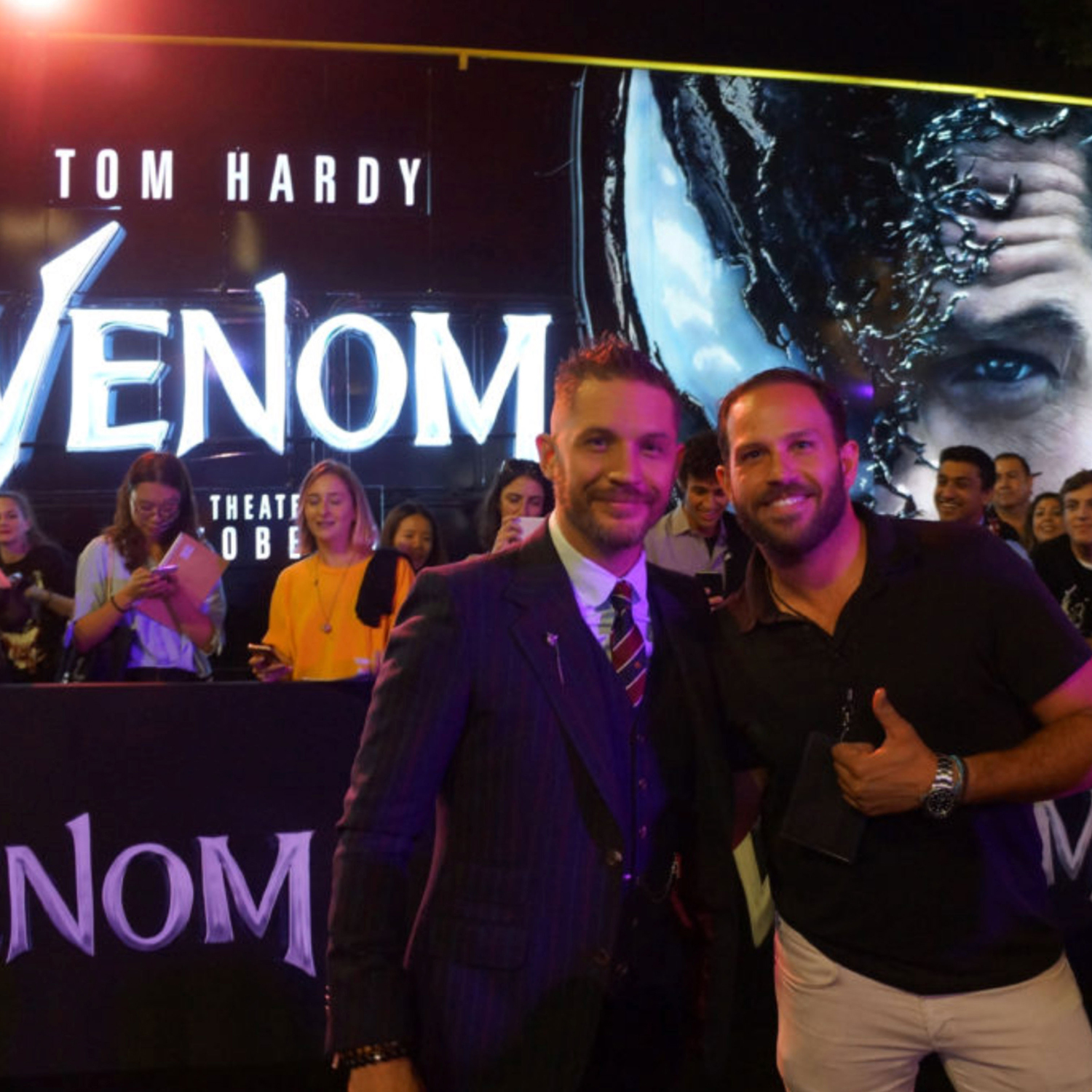 Venom actor Tom Hardy with our illuminated bus