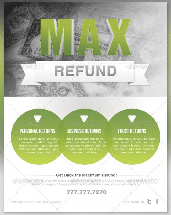 Max Refund Tax Flyer and Postcard