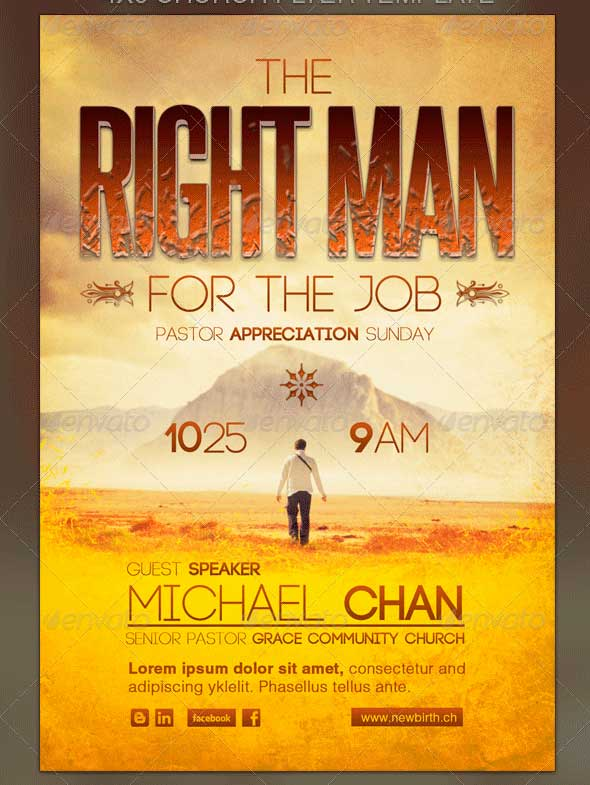 The Right Man for the Job Church Flyer Template