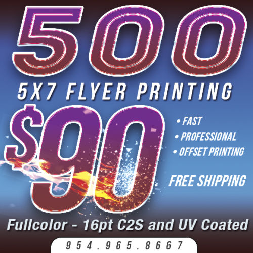500 5x7 Custom FLYER Printing - Full Color - 16pt Thick Stock - UV COATING