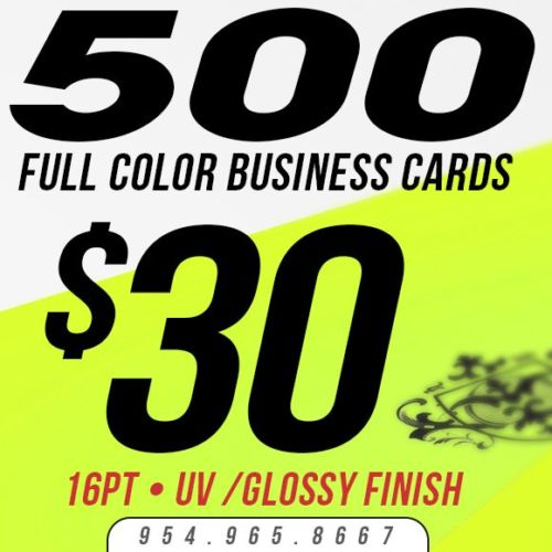 500 Custom Business Cards Printing - 16pt UV Gloss! - Full Color