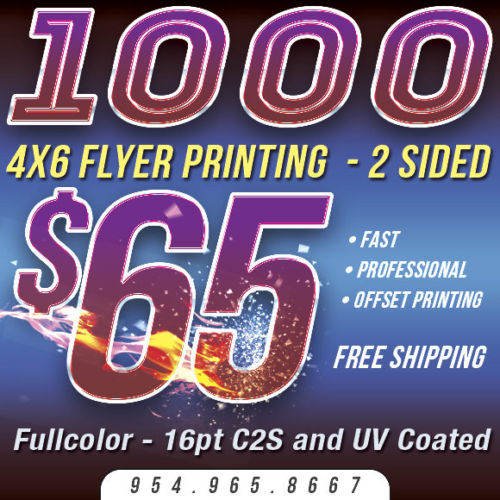 1,000 4x6 Custom FLYER Printing - Full Color - 16pt Thick Stock - UV COATING
