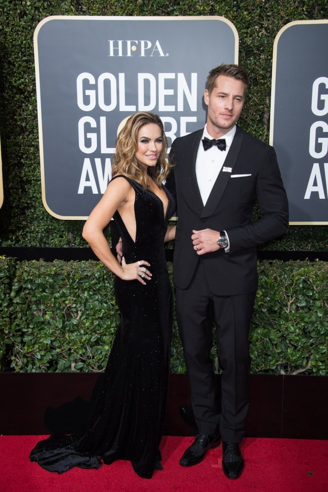 Actor Justin Hartley (R) and Chrishell Stause attend the 75th Annual Golden Globes Awards 4chion lfiestyle