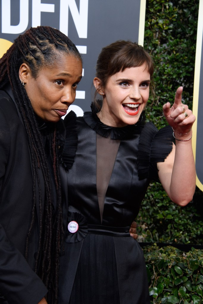 Marai Larasi and Emma Watson attend the 75th Annual Golden Globes Awards 4chion lifestyle