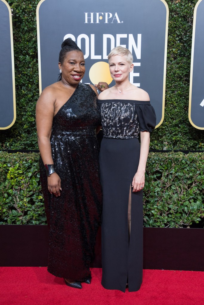 Michelle Williams (L) and Tarana Burke attend the 75th Annual Golden Globe Awards 4chion lifestyle