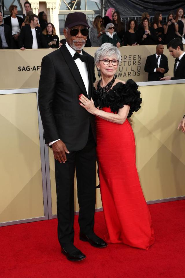 Morgan Freeman (L) and Rita Moreno red carpet SAG Awards 4Chion Lifestyle