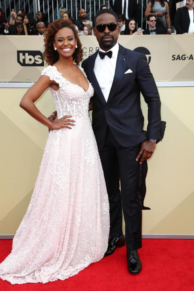 Ryan Michelle Bathe (L) and Sterling K. Brown red carpet SAG Awards 4Chion Lifestyle