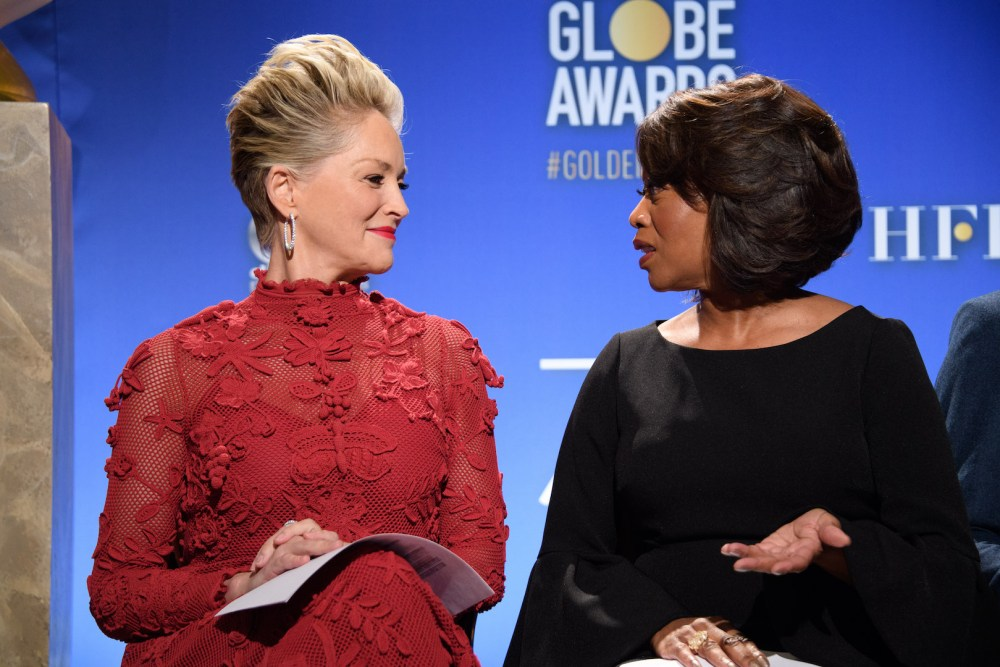 Sharon Stone and Alfre Woodard at the 75th annual Golden Globe Awards nominations 4chion lifestyle