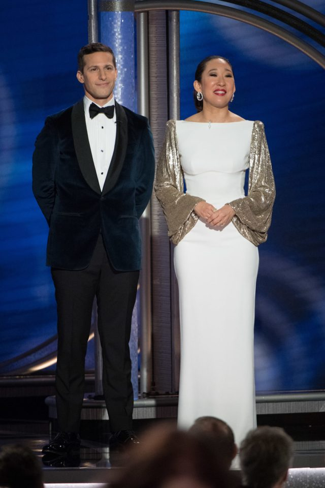 Hosts Andy Samberg and Sandra Oh Golden Globes