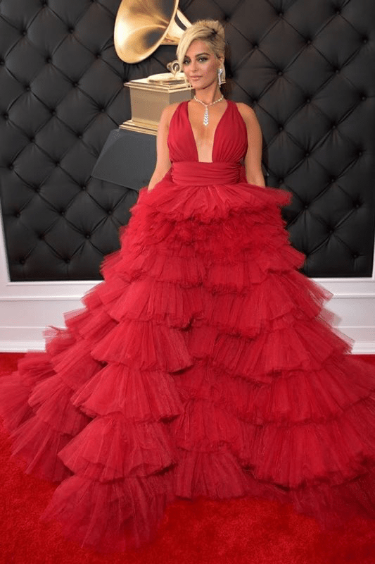 Bebe Rexha Grammys Red Dress Fashion 4chion lifestyle