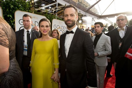 """Nominated for BEST PERFORMANCE BY AN ACTRESS IN A MOTION PICTURE – DRAMA for her role in """"Jackie,"""" actress Natalie Portman attends the 74th Annual Golden Globe Awards with Benjamin Millepied at the Beverly Hilton in Beverly Hills, CA on Sunday, January 8, 2017."""
