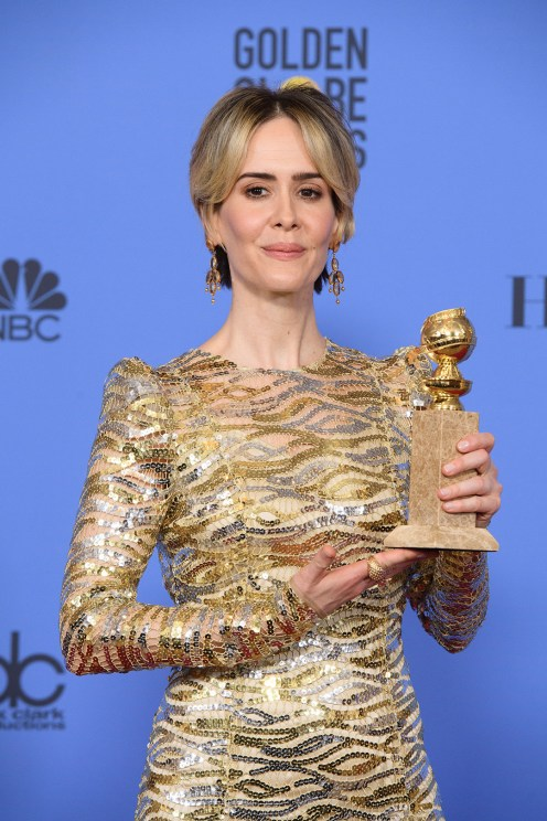 """After winning the category of BEST PERFORMANCE BY AN ACTRESS IN A MINI-SERIES OR MOTION PICTURE MADE FOR TELEVISION for her role in """"The People v. O.J. Simpson: American Crime Story,"""" actress Sarah Paulson poses backstage in the press room with her Golden Globe Award at the 74th Annual Golden Globe Awards at the Beverly Hilton in Beverly Hills, CA on Sunday, January 8, 2017."""