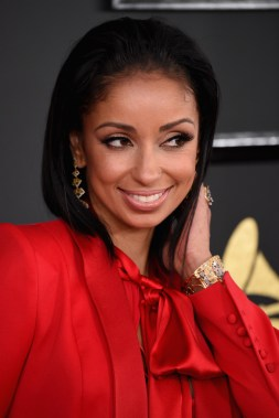 Mya STYLAND suit, and diamond jewels by L'Dezen by Payal Shah Grammys