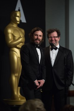 "Casey Affleck poses backstage with the Oscar® for Performance by an actor in a Leading role, for work on ""Manchester by the Sea"" alongside Kenneth Lonergan, Oscar® winner for Original screenplay, for work on ""Manchester by the Sea"" during the live ABC Telecast of The 89th Oscars® at the Dolby® Theatre in Hollywood, CA on Sunday, February 26, 2017."