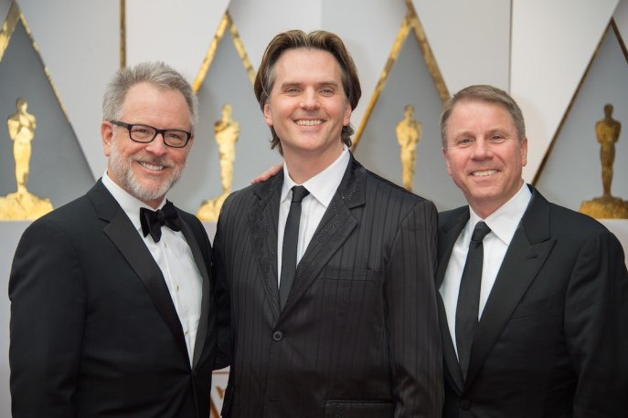 Rich Moore, Byron Howard, and Clark Spencer arrive at The 89th Oscars® at the Dolby® Theatre in Hollywood, CA on Sunday, February 26, 2017.