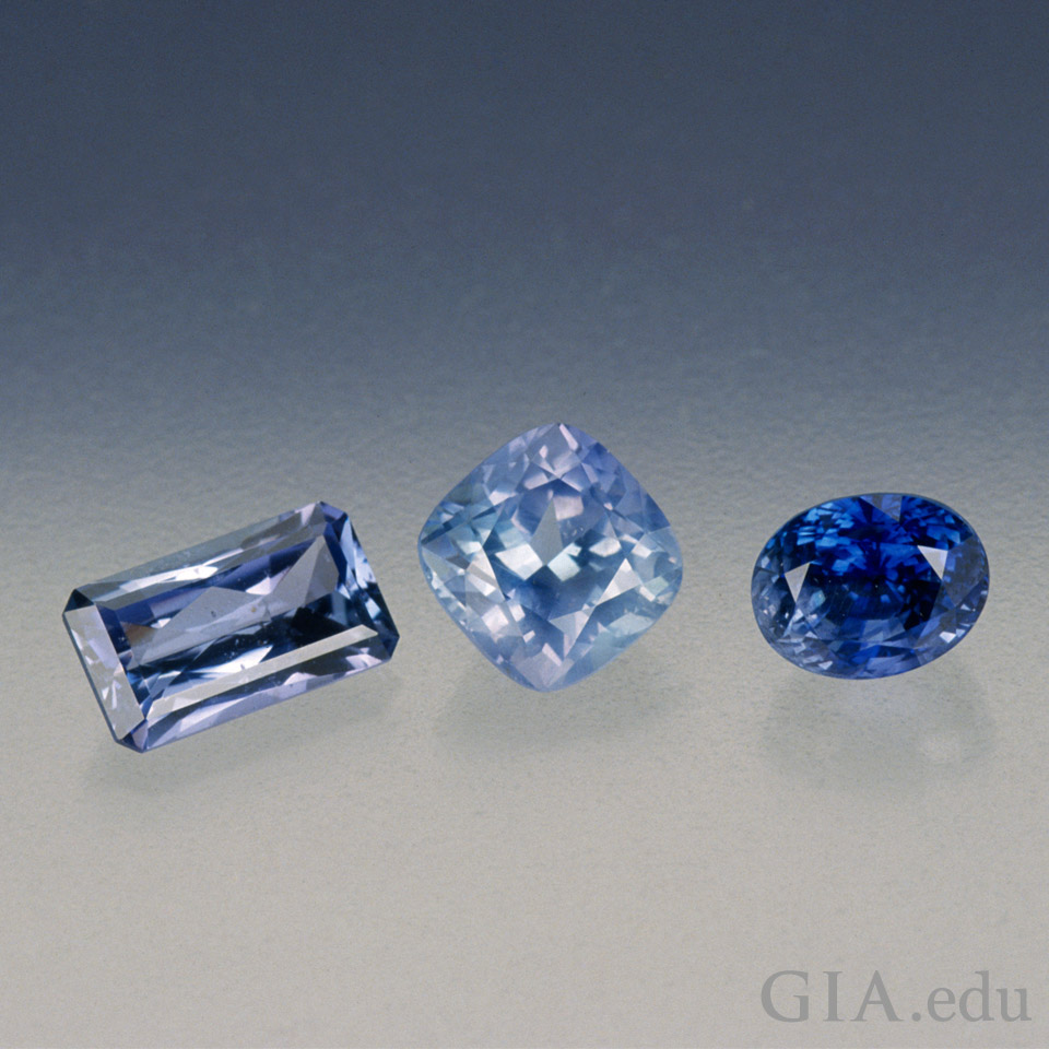 Three blue sapphires