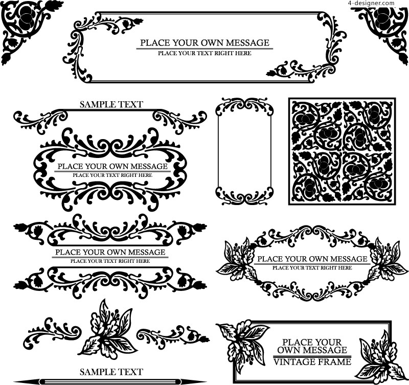 4 Designer European Pattern Border Design Vector Material