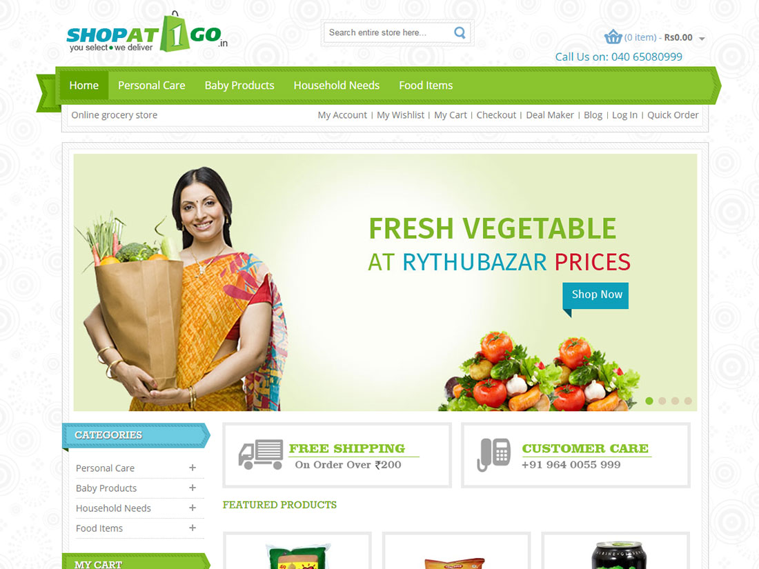 ShopAt1go Online portal for regular needs
