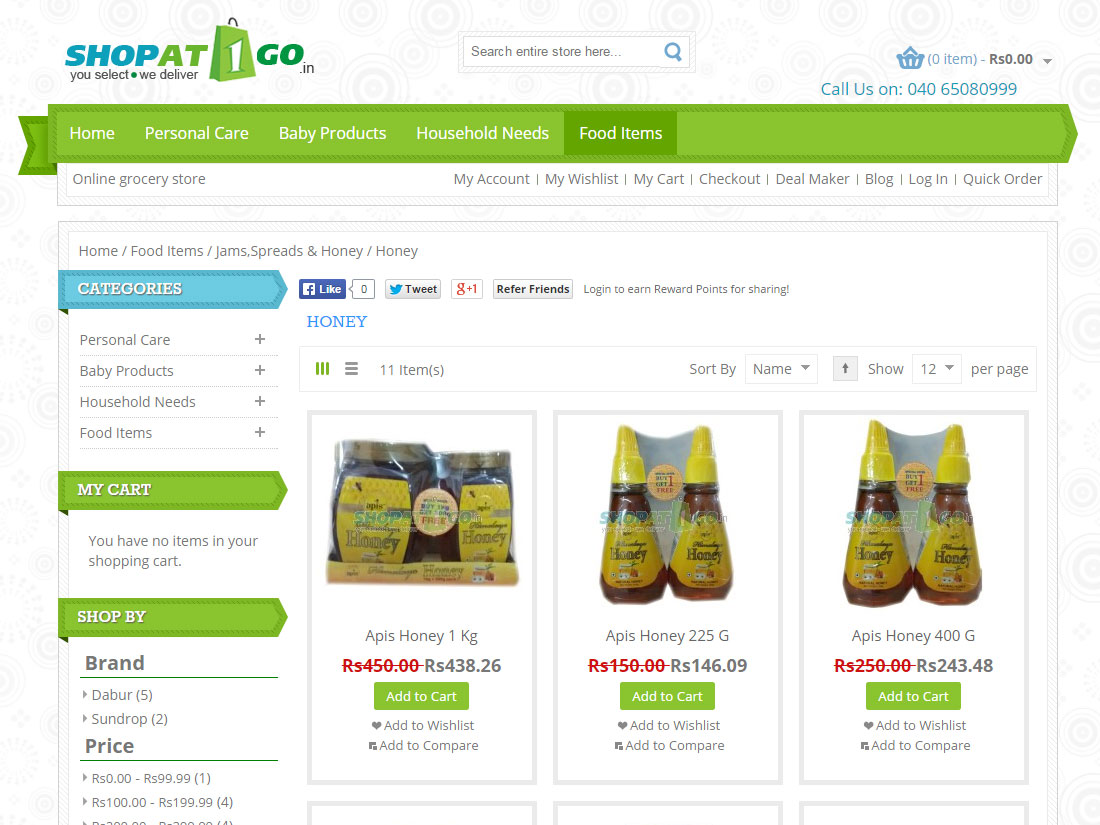 ShopAt1go Online portal for regular needs