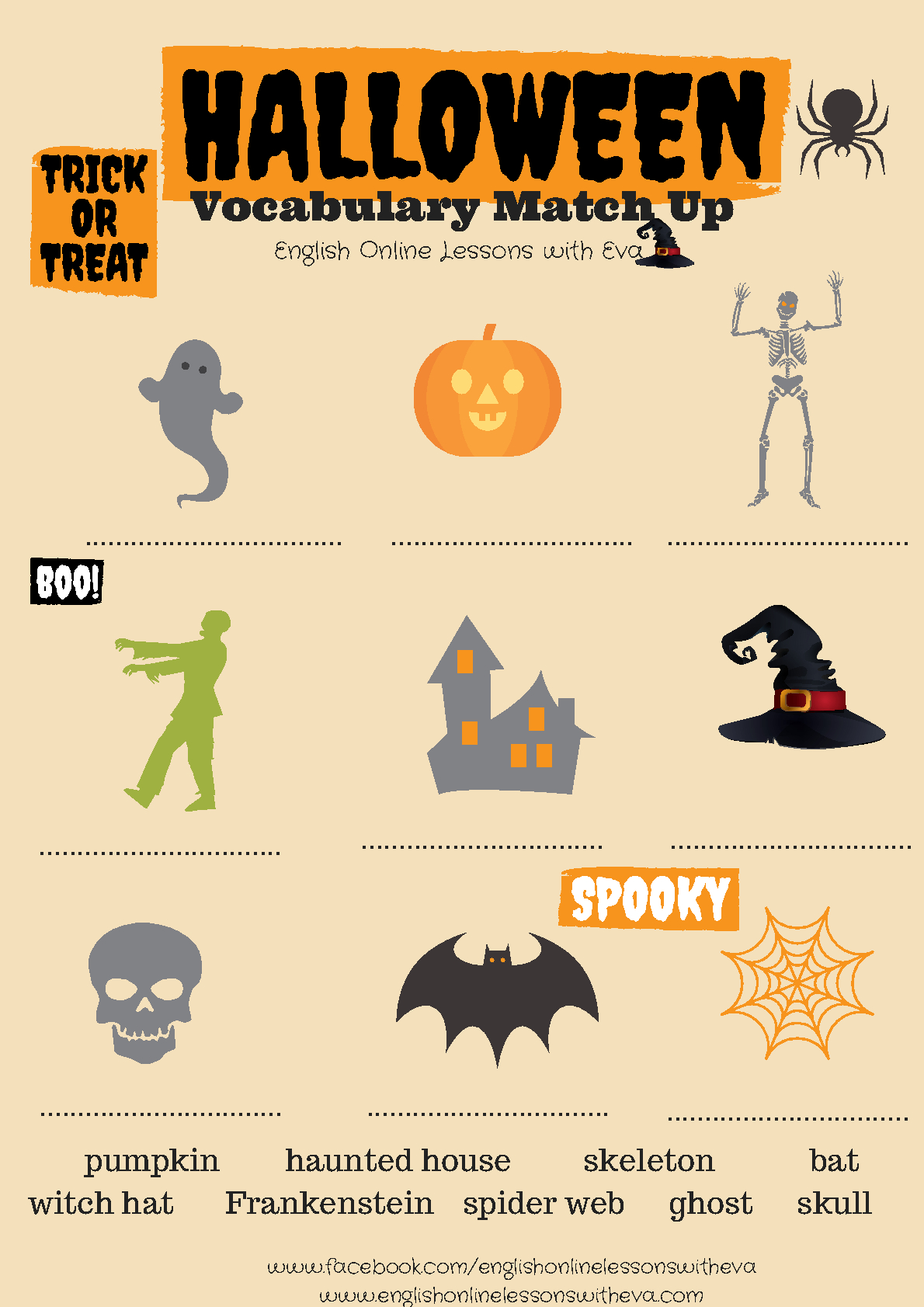 Free Printable French Halloween Worksheets