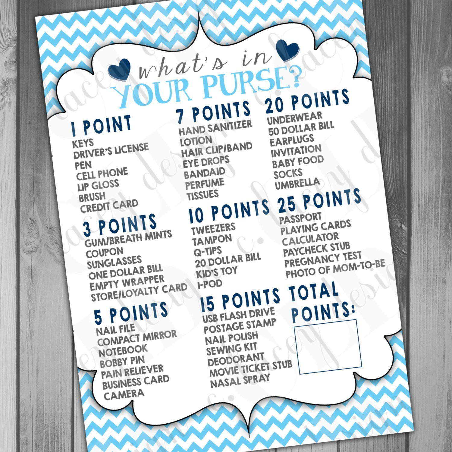 Free Printable Baby Shower Game What S In Your Purse