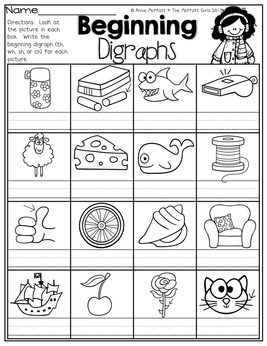 Digraphs Sh Ch Th Worksheet