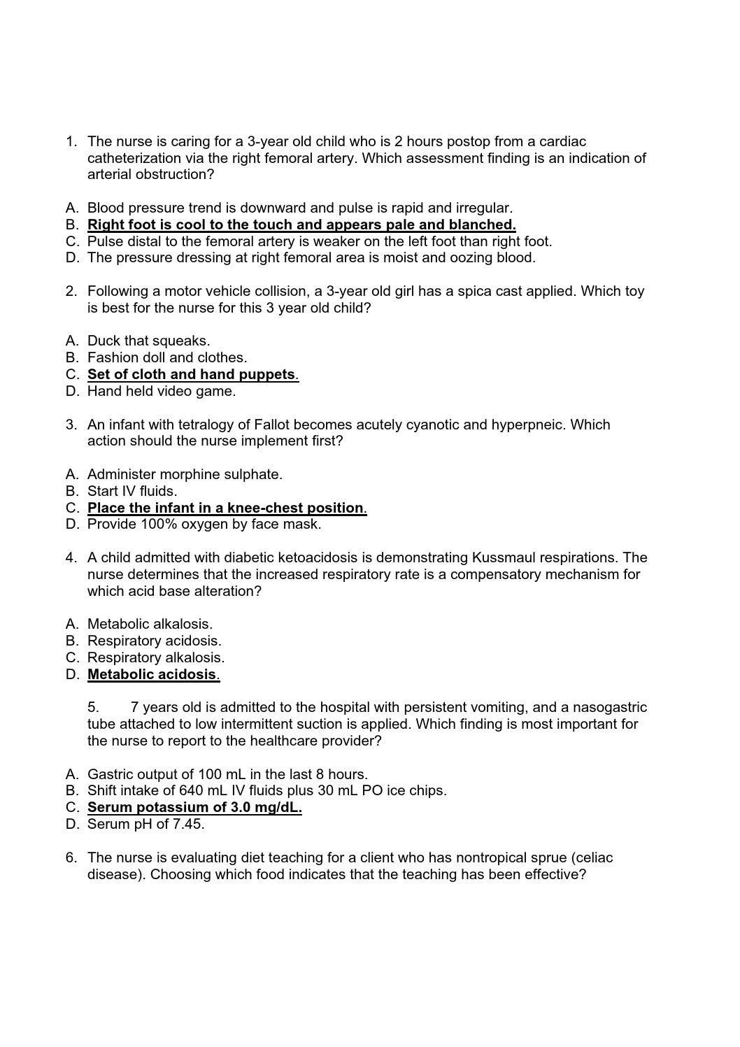 Hesi Pediatric Exam 55 Questions