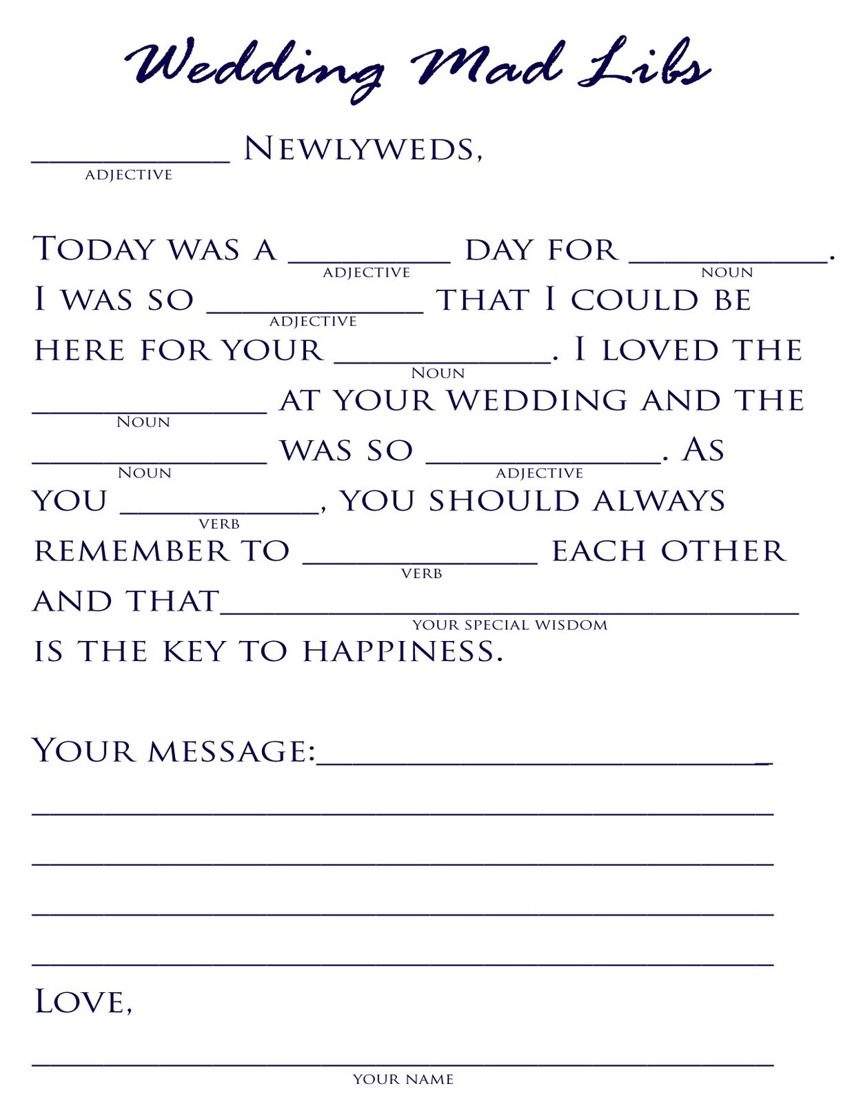 Free Bachelorette Party Mad Libs