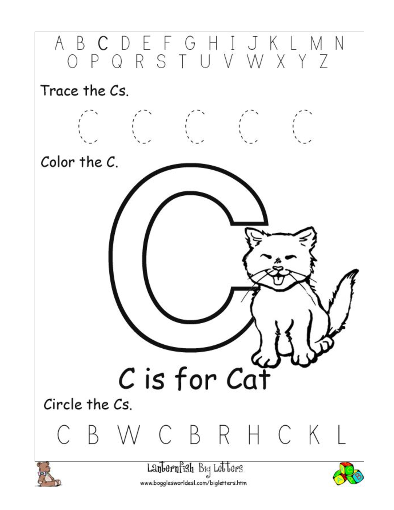 Free Abc Worksheets For Pre K Activity Shelter