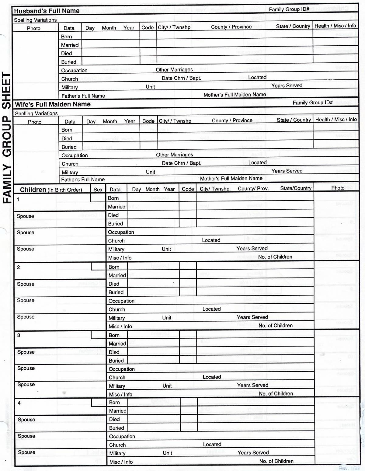 Free Printable Genealogy Worksheets