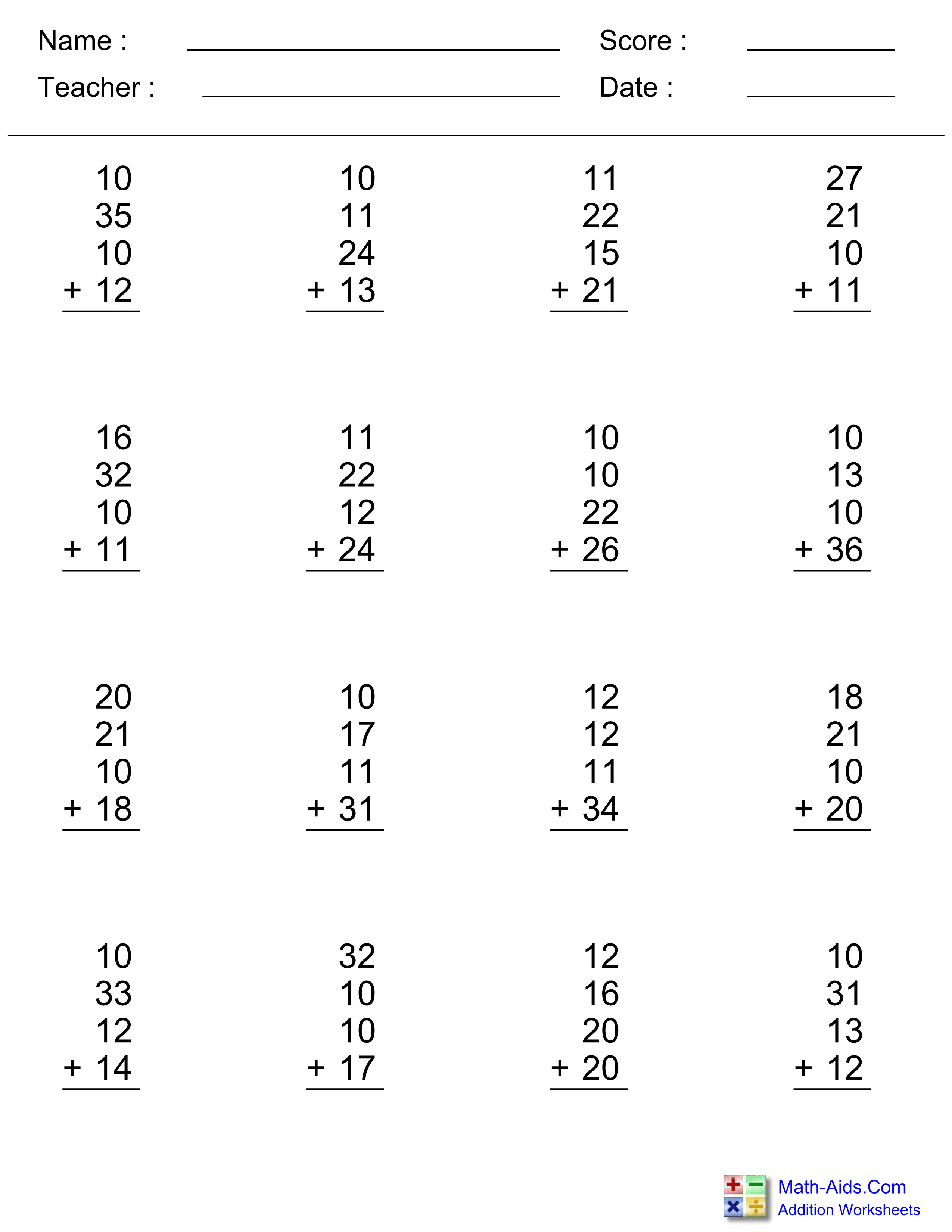 Free Printable Two Digit Addition Worksheets