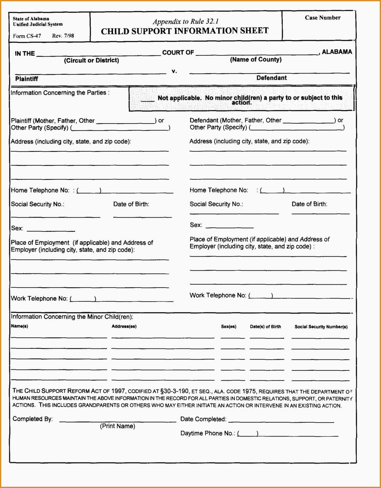 Free Printable Divorce Papers