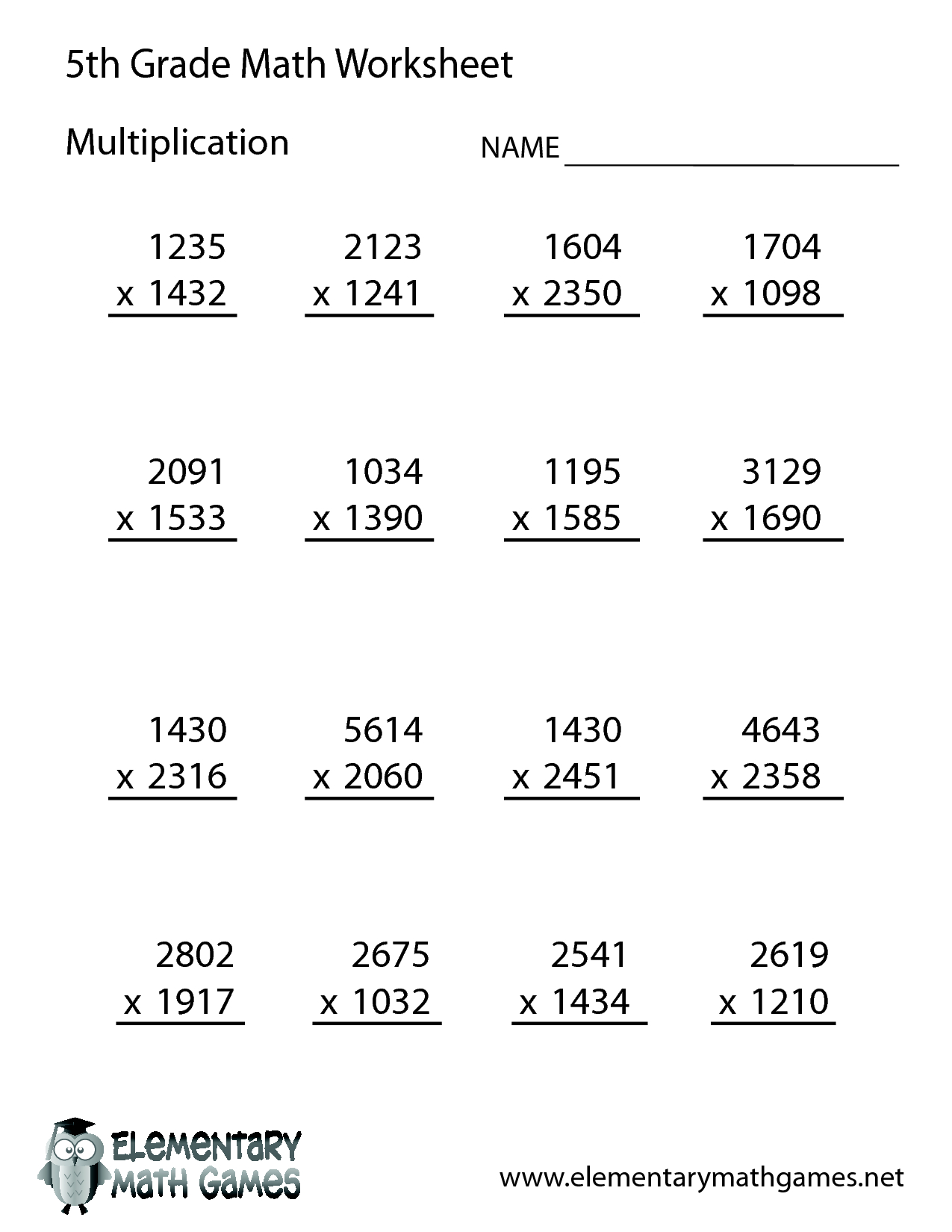 Free Printable Multiplication Worksheets For 5th Grade