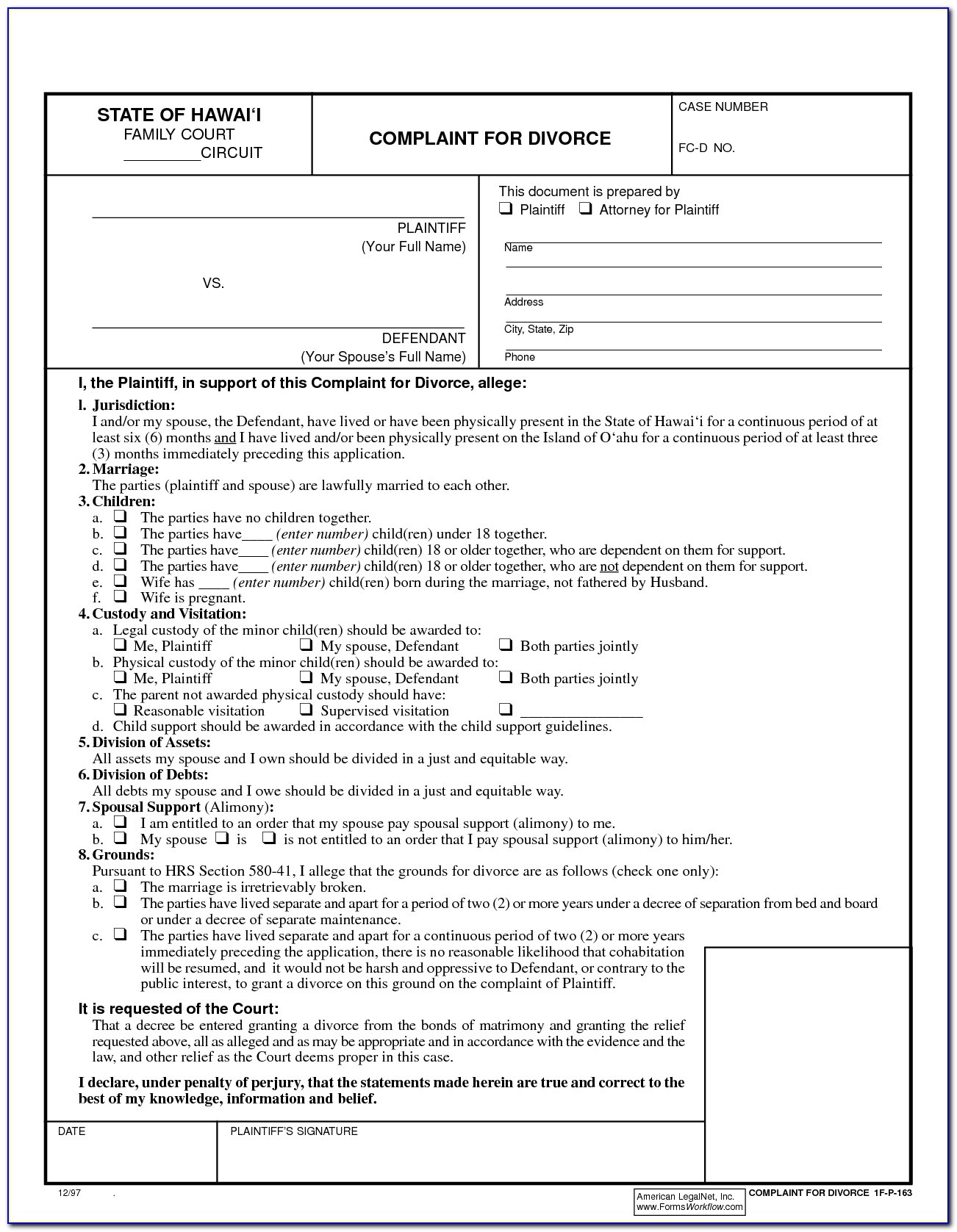 Free Printable Uncontested Divorce Forms Georgia