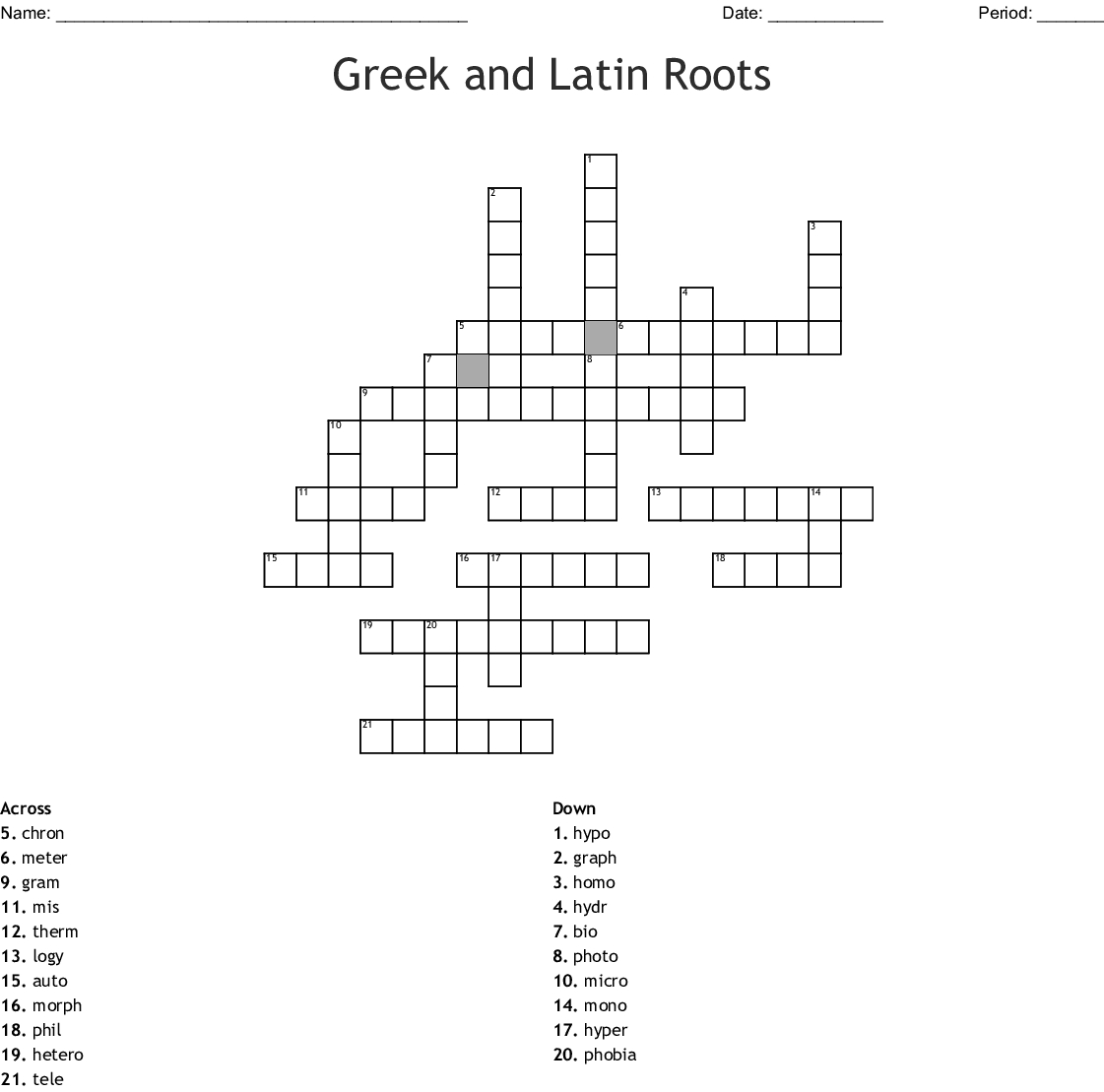 Free Printable Greek And Latin Roots