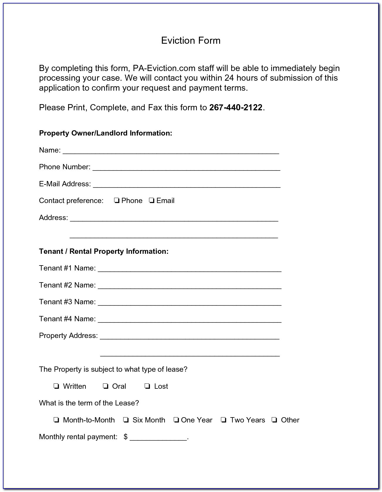 Free Printable Eviction Notice Pa
