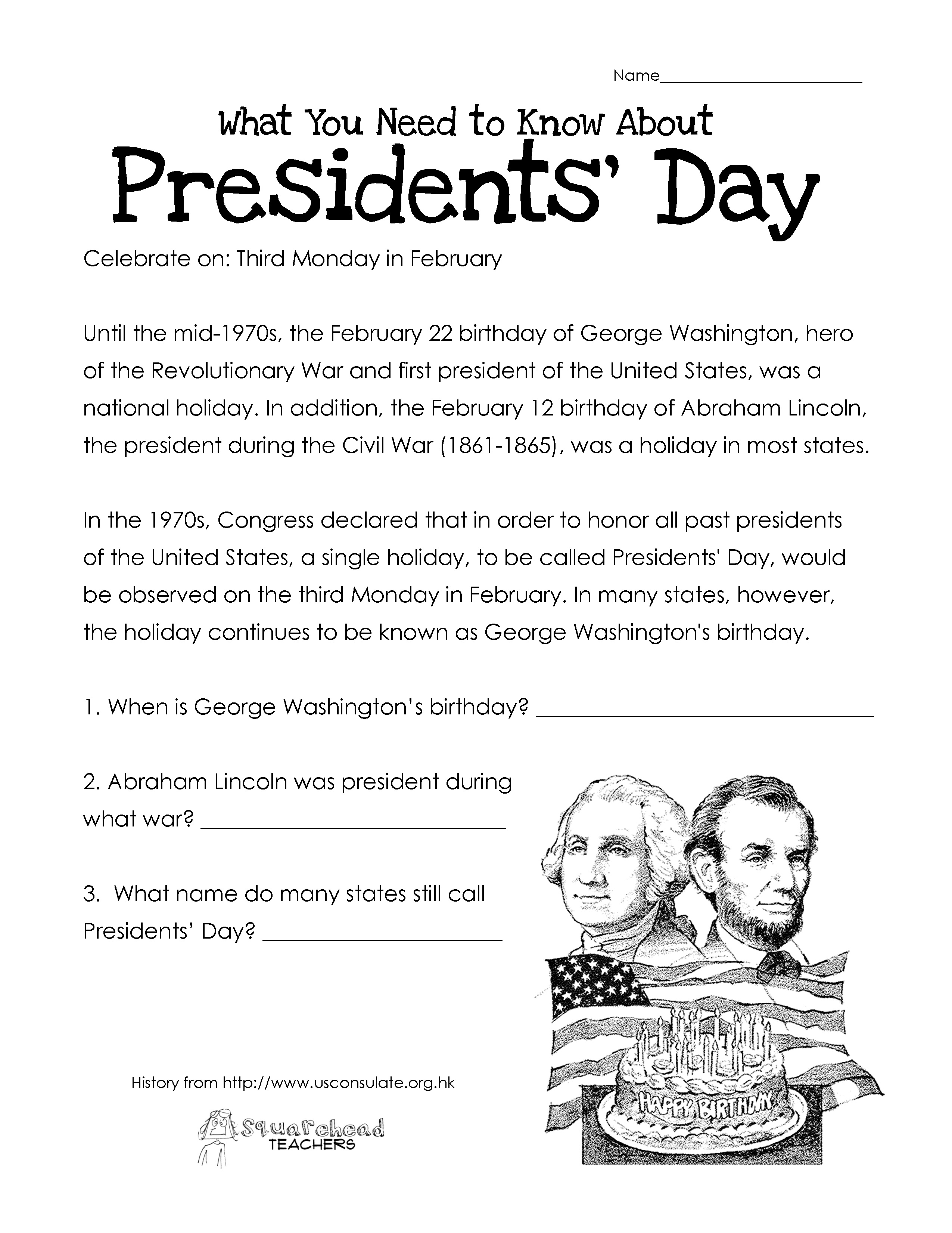 President S Day Coloring Worksheet