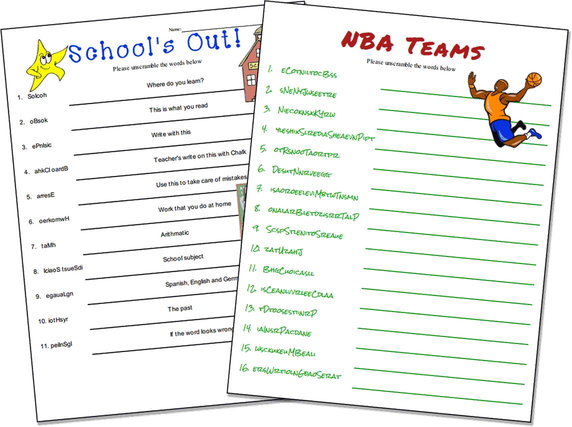 School Word Scramble Free Worksheet