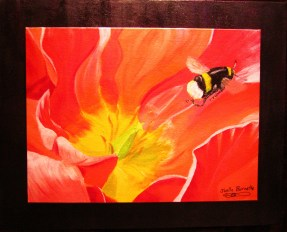 """""""Bee and Poppy Flower""""Acrylic on double canvas16""""H x 20""""W x 0.5""""D"""