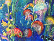 """Under the Sea"" Oils on canvas 3' H x 4' W x 1.5"" D"