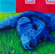 """SOLD: """"Blue Dog"""" Acrylics on Canvas 12""""H x 12""""W x 1.5""""D"""