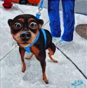 """""""City Sidewalk Dog"""" Acrylics on Canvas 10""""H x 10""""W x 1.5""""D"""