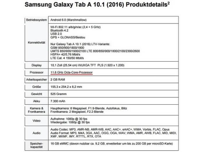 Samsung-Galaxy-Tab-A-10.1-2016 specslist