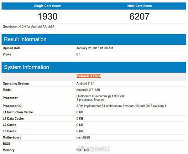 Alegadas especificações e pontuações do Moto Z2 na GeekBench