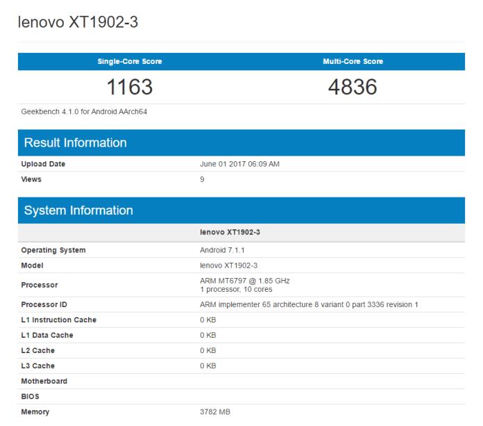 Listagem Geekbench Moto M2