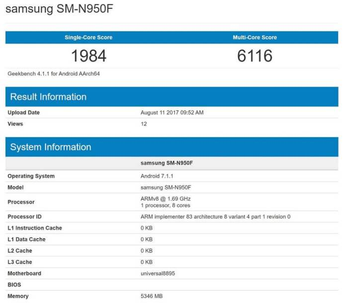 Samsung Galaxy Note 8 Geekbench