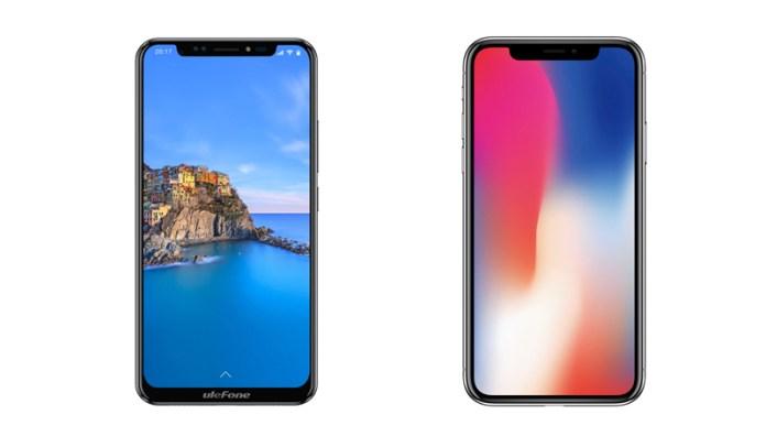 Clone da Ulefone à esquerda e Apple iPhone X à direita