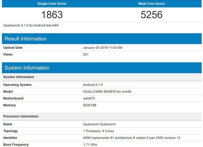 Android Oreo Qualcomm Snapdragon 670