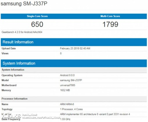 GeekBench Samsung Galaxy J3 2018