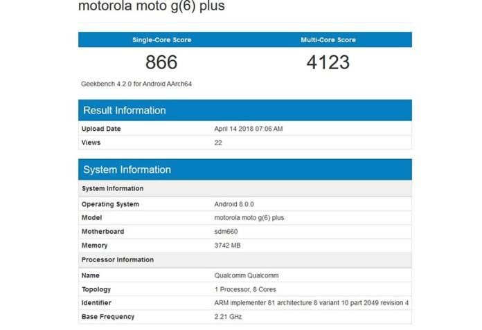 Geekbench Android Oreo Motorola Moto G6 Plus Snapdragon